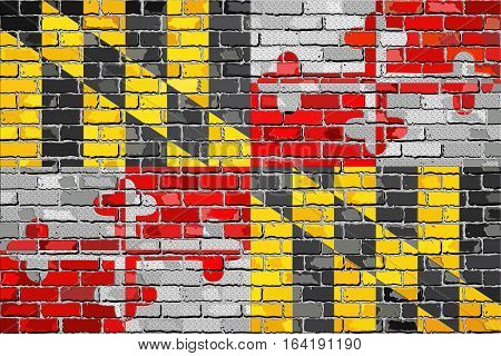 Flag of Maryland on a brick wall with effect - 3D Illustration,  The flag of the state of Maryland on brick textured background,  Maryland Flag in brick style