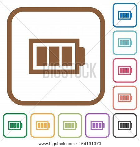 Full battery with three load units. Simple icons in color rounded square frames on white background.
