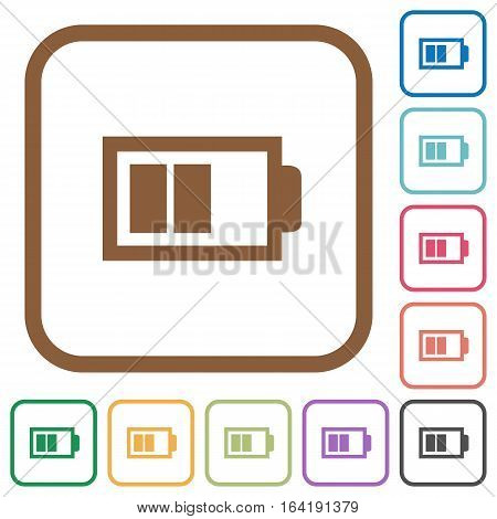 Half battery with two load units. Simple icons in color rounded square frames on white background