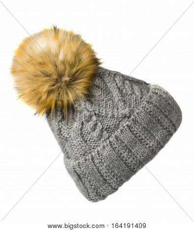 Women's Knitted Hat Isolated On White Background.hat With Pompon.light Gray Hat .