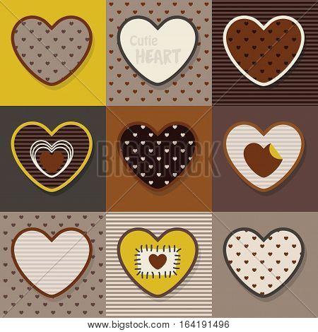 Brown, khaki and yellow cute hearts pattern set