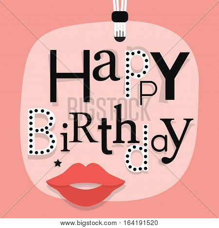 Abstract close up of hanging Happy Birthday message with woman lips on pink gift tag - with funky different font faces arrangement