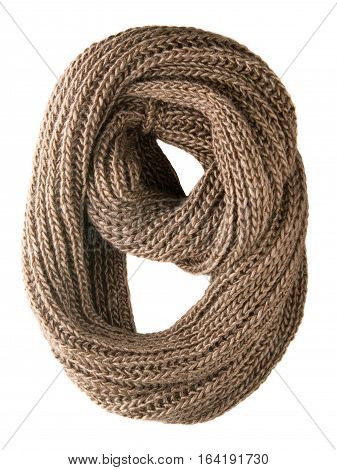 Scarf Isolated On White Background.scarf  Top View .brown Scarf .