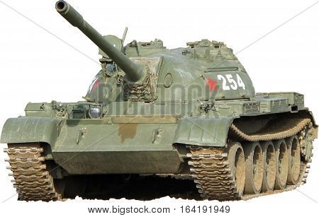 Cold War Russian T55 Tank on a Isolated background