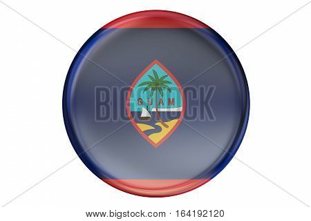 Badge with flag of Guam 3D rendering isolated on white background