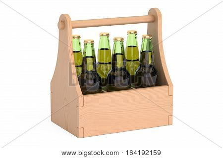 bottles of beer in wooden packaging 3D rendering isolated on white background