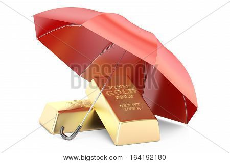 gold bars with umbrella financial insurance and business stability concept. 3D rendering isolated on white background