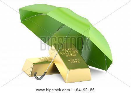 gold ingots with umbrella financial insurance and business stability concept. 3D rendering isolated on white background