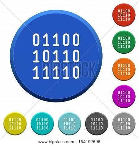 Binary code round color beveled buttons with smooth surfaces and flat white icons