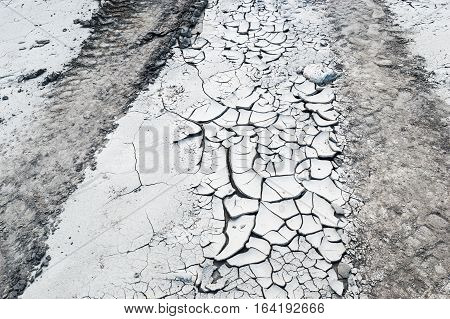 Texture of cracked white ground during drought