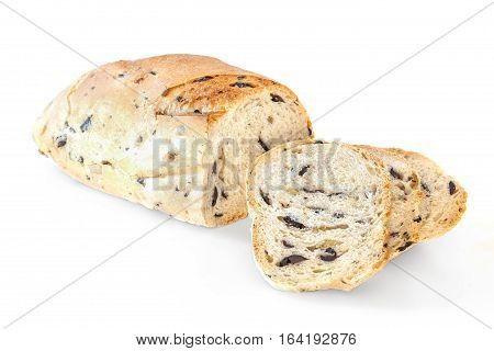 Bread With Olives Isolated
