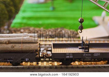 Railway model - wagon with cargo crane