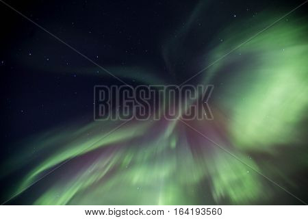 Icelandic winters night stuning Northern lights display