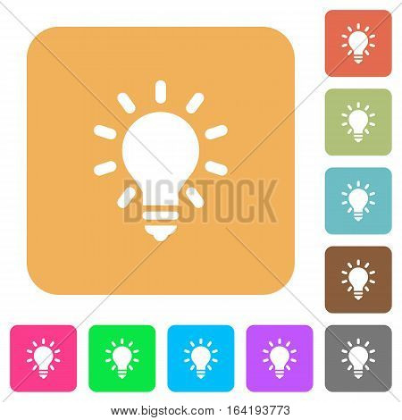 Lighting bulb as idea concept. Flat icons on rounded square vivid color backgrounds.