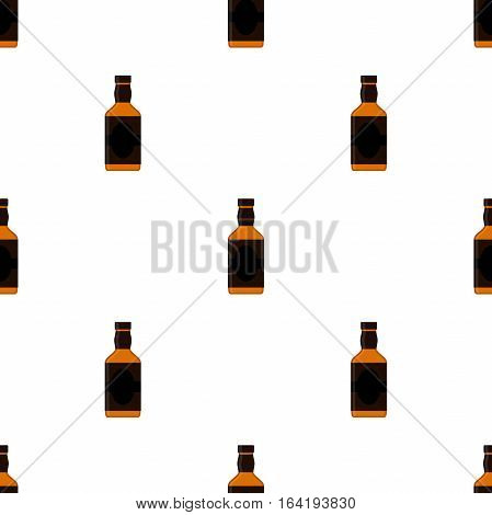 Rum bottles pattern. Alcohol drink flat style design. Vector illustration. Rum whiskey brandy liquor for pubs restaurants hipster bars