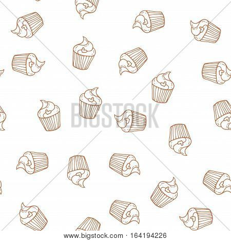 Hand drawn cupcakes seamless pattern. Print for bakery. Pastry illustration