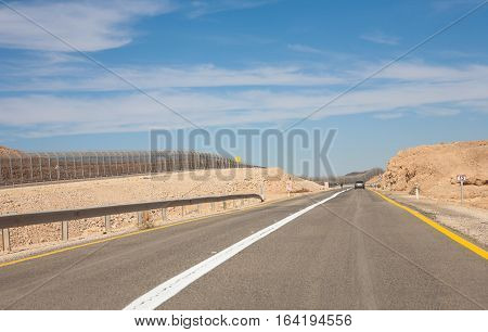 The road and Israel-Egypt border near to Eilat