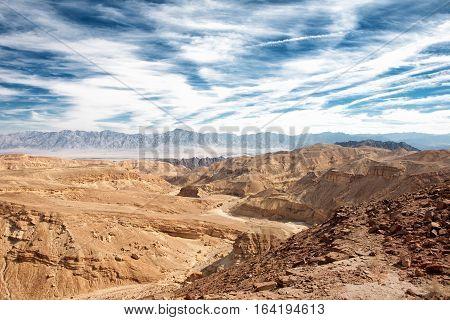 The Eilat mountains in the Negev Desert landscape Israel