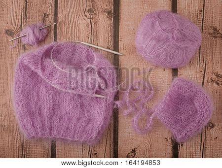knitting with violet mohair - leisure time activity
