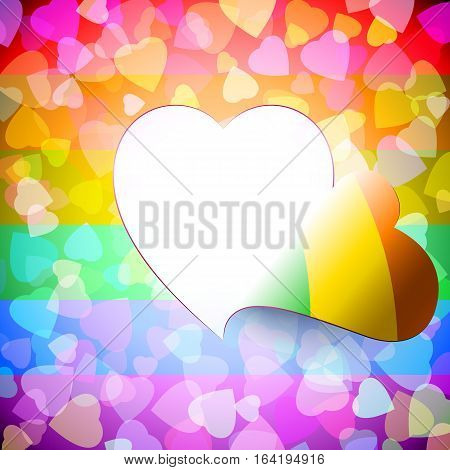 Open door from heart shape cut out on the LGBT-background of love signs; Access to the heart; Greeting Card for Valentines Day and wedding for lesbian gay bisexual homosexual community; Frame of the disclosed heart; Vector background Eps10; Rainbow versio