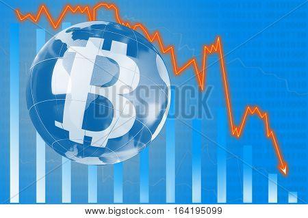 Schedule Bitcoin fall economic, financial diagram  concept,