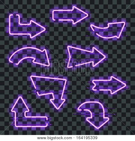 Set of glowing purple neon arrows isolated on transparent background. Shining and glowing neon effect. Every arrow is separate unit with wires, tubes, brackets and holders. Vector illustration.