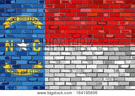 Flag of North Carolina on a brick wall with effect - 3D Illustration,  The flag of the state of North Carolina on brick textured background,  North Carolina Flag in brick style