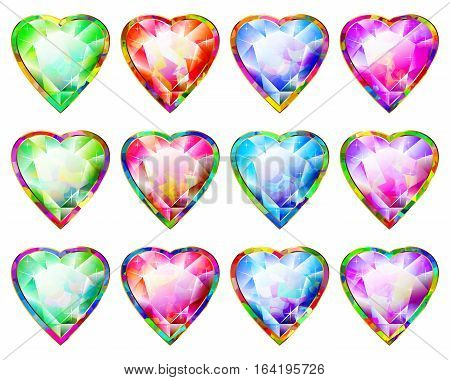 Hearts with diamond faceted precious stones; Multicolored pendants in the shape of a heart; Symbols of love and romance for the holiday Valentine's Day and weddings; Vector set of icons Eps10