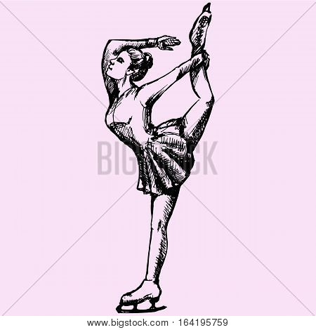 Ice figure skater girl doodle style sketch illustration hand drawn vector
