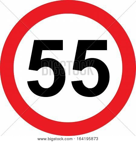55 speed limitation road sign on white background