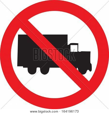 No trucks street sign  on white background