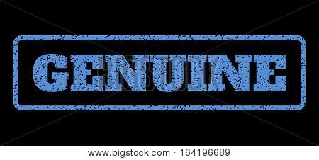 Blue rubber seal stamp with Genuine text. Vector caption inside rounded rectangular banner. Grunge design and unclean texture for watermark labels. Horisontal emblem on a black background.