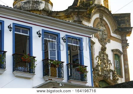 Streets Of The Historical Town Ouro Preto Brazil