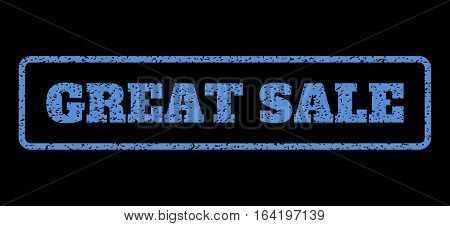 Blue rubber seal stamp with Great Sale text. Vector message inside rounded rectangular shape. Grunge design and dirty texture for watermark labels. Horisontal sign on a black background.