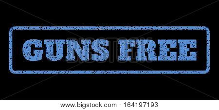Blue rubber seal stamp with Guns Free text. Vector caption inside rounded rectangular shape. Grunge design and dirty texture for watermark labels. Horisontal emblem on a black background.