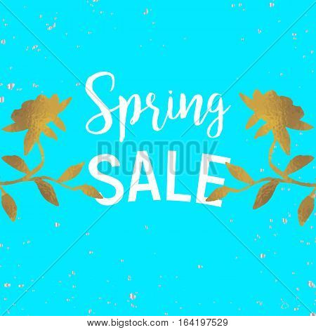Gold leaves spring sale with dots and white