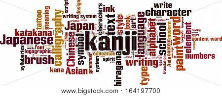 Kanji word cloud concept. Vector illustration on white