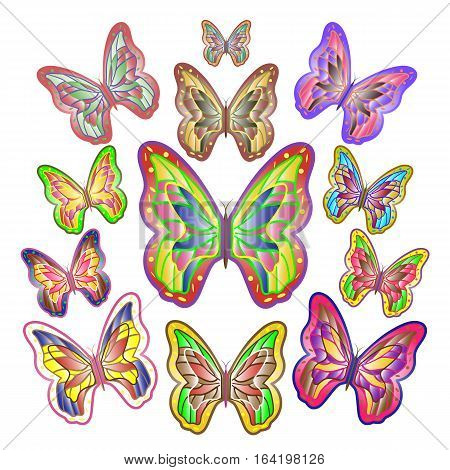 Twelve bright motley butterflies of different sizes. Vector illustration