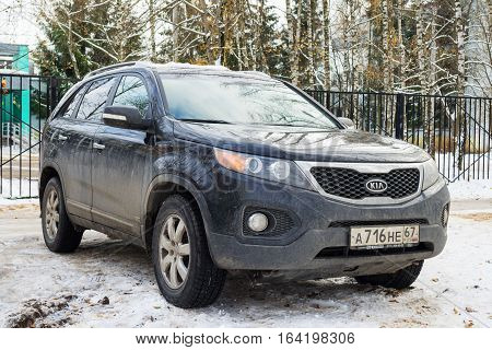 Smolensk, Russia - November 13, 2016: KIA Sorento parked in winter street.
