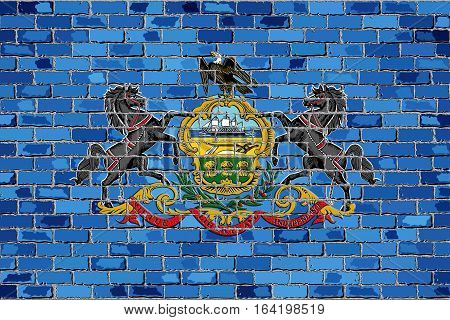 Flag of Pennsylvania on a brick wall with effect - 3D Illustration,