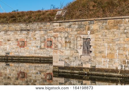 Detail of fortress wall at Fort Monroe in Hampton, Virginia.