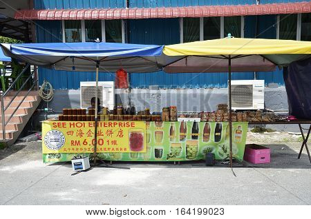 Roadside Stall Selling Maltose Candy Biscuit At Tualang In Malaysia