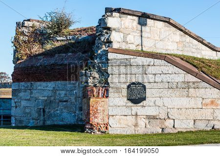 Former water battery at Fort Monroe in Hampton, Virginia.
