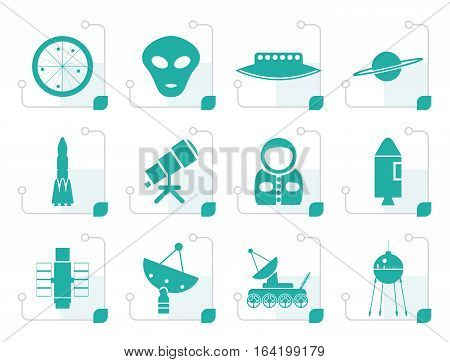 Stylized Astronautics and Space Icons - Vector Icon Set