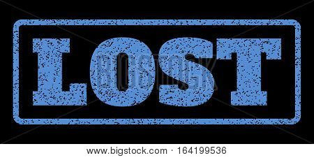 Blue rubber seal stamp with Lost text. Vector message inside rounded rectangular banner. Grunge design and unclean texture for watermark labels. Horisontal emblem on a black background.