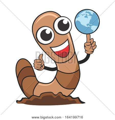 Vector Cartoon Character of Adorable Cute Worm with thump up gesture, and the other hand with a spinning globe