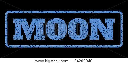 Blue rubber seal stamp with Moon text. Vector tag inside rounded rectangular frame. Grunge design and scratched texture for watermark labels. Horisontal sticker on a black background.