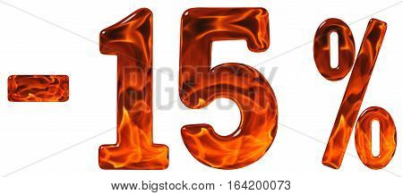 Percent Off. Discount. Minus 15, Fifteen  Percent, Numerals Isolated On White Background