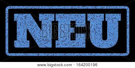 Blue rubber seal stamp with Neu text. Vector tag inside rounded rectangular frame. Grunge design and dirty texture for watermark labels. Horisontal sign on a black background.