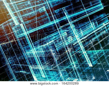 Modern technology blue background - abstract computer-generated image. Fractal geometry: chaos glass walls. Hi-tech, virtual reality or sci-fi concept.
